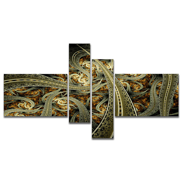 Designart Metallic Fabric Pattern Multipanel Abstract Print On Canvas - 4 Panels