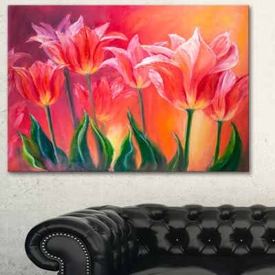 Designart Tulips In Red Shade Floral Art Canvas Print - 3 Panels