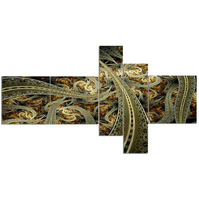 Designart Metallic Fabric Pattern Multipanel Abstract Print On Canvas - 5 Panels
