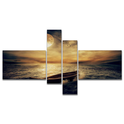 Designart Middle Of Ocean After Storm MultipanelFloral Canvas Art Print - 4 Panels