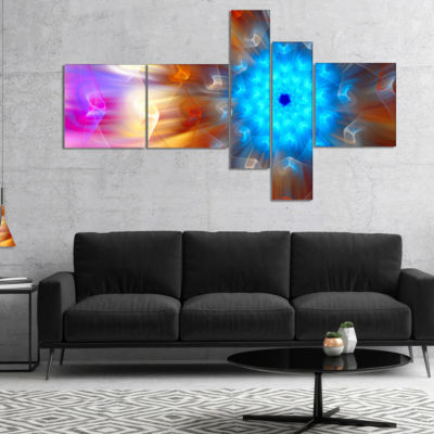 Designart Multi Color Exotic Flower Petals Multipanel Floral Canvas Art Print - 5 Panels