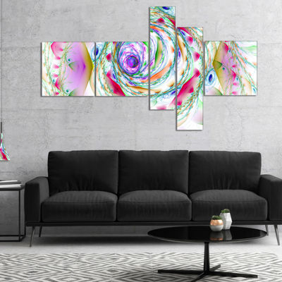 Designart Multi Color Exotic Flower Whirlpool Multipanel Floral Canvas Art Print - 5 Panels