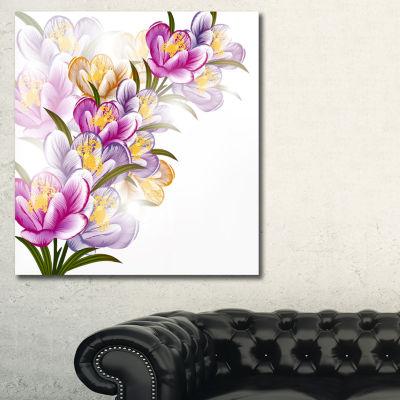 Designart Vector Purple Flowers Floral Art CanvasPrint - 3 Panels