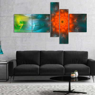 Designart Multi Color Fractal Petals Dandelion Multipanel Floral Canvas Art Print - 5 Panels
