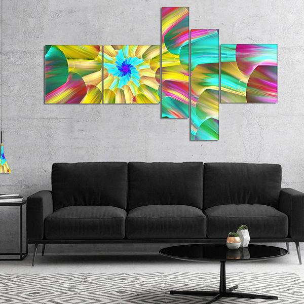 Designart Multi Color Stained Glass Spirals Multipanel Floral Canvas Art Print - 4 Panels
