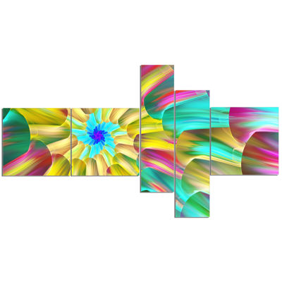 Designart Multi Color Stained Glass Spirals Multipanel Floral Canvas Art Print - 5 Panels