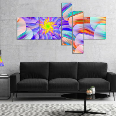 Designart Multi Colored Stain Glass With Spirals Multipanel Floral Canvas Art Print - 5 Panels