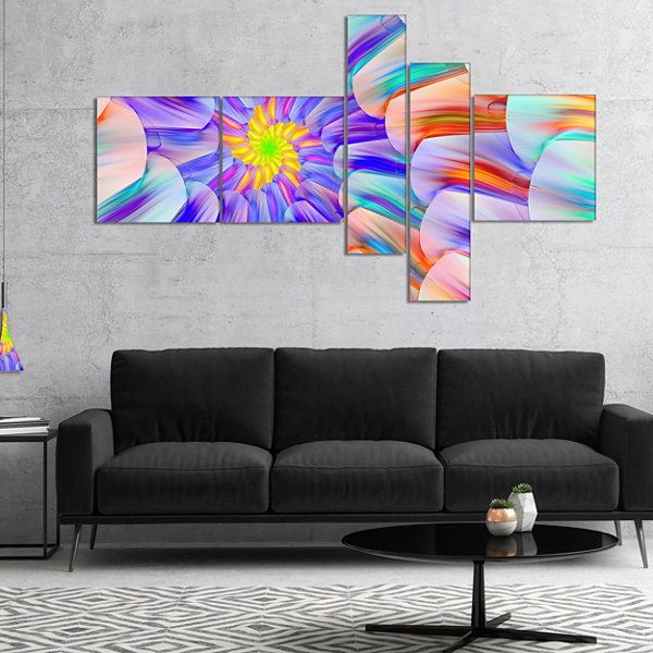 Designart Multi Colored Stain Glass With SpiralsMultipanel Floral Canvas Art Print - 5 Panels