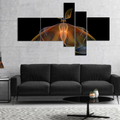Designart Orange Fractal Butterfly In Dark Multipanel Abstract Canvas Art Print - 4 Panels