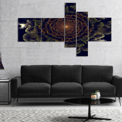 Designart Orange Fractal Flower With Green Multipanel Abstract Print On Canvas - 5 Panels