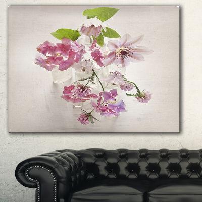 Designart Vintage Pink Flowers Floral Painting Canvas - 3 Panels