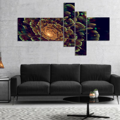 Designart Orange Metallic Fractal Flower Multipanel Abstract Print On Canvas - 4 Panels