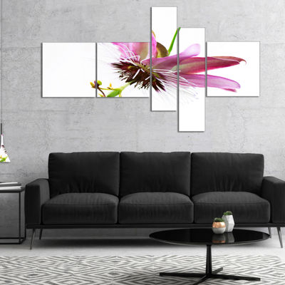 Designart Passiflora Flower Over White MultipanelAbstract Canvas Wall Art - 5 Panels