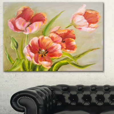 Designart Vintage Red Tulips Floral Art Canvas Print - 3 Panels