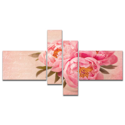 Designart Peony Flowers Against Scribbled Back Multipanel Floral Canvas Art Print - 4 Panels