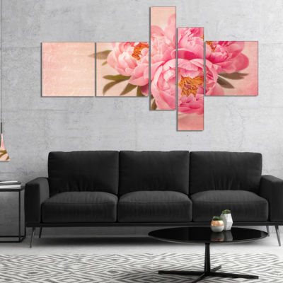 Designart Peony Flowers Against Scribbled Back Multipanel Floral Canvas Art Print - 5 Panels