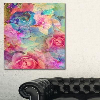 Designart Vintage Romantic Floral Art Floral ArtCanvas Print
