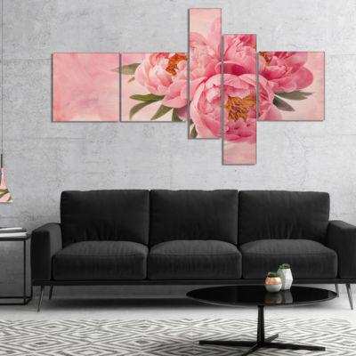 Designart Peony Flowers In Vase On Pink MultipanelFloral Canvas Art Print - 5 Panels