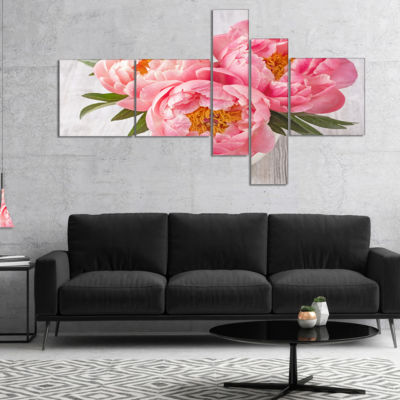 Designart Peony Flowers On White Floor MultipanelFloral Canvas Art Print - 4 Panels