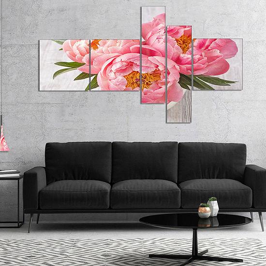 Designart Peony Flowers On White Floor MultipanelFloral Canvas Art Print - 4 Panels