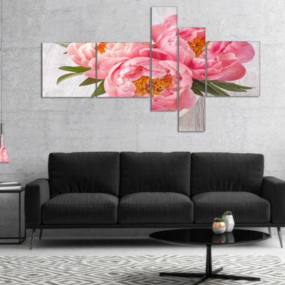 Designart Peony Flowers On White Floor MultipanelFloral Canvas Art Print - 5 Panels