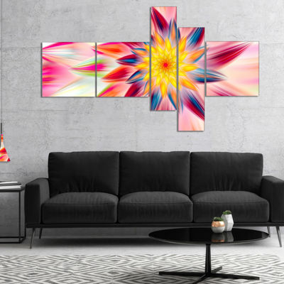 Designart Pink Dancing Flower Petals Multipanel Floral Canvas Art Print - 4 Panels