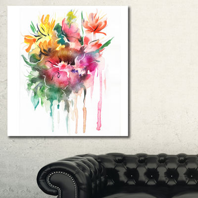 Designart Watercolor Floral Illustration Floral Art Canvas Print