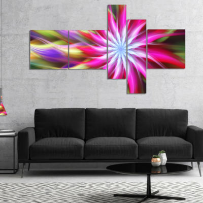 Designart Pink Flower Dance Bright Spiral Multipanel Floral Canvas Art Print - 5 Panels