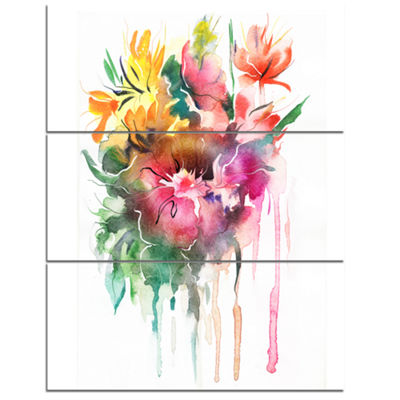 Designart Watercolor Floral Illustration Floral Art Canvas Print - 3 Panels