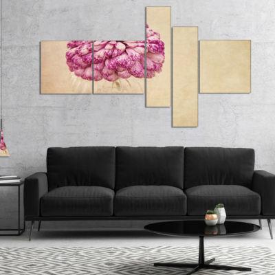 Designart Pink Flower In Vase Watercolor Multipanel Floral Canvas Art Print - 5 Panels