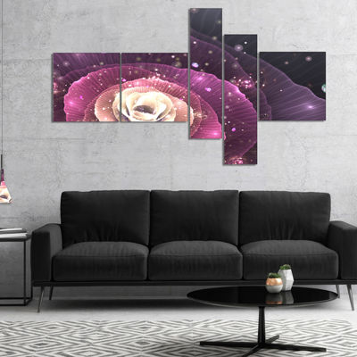 Designart Pink Flower With Sparkles Multipanel Floral Art Canvas Print - 4 Panels