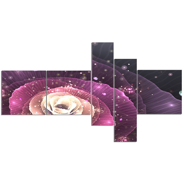 Designart Pink Flower With Sparkles Multipanel Floral Art Canvas Print - 5 Panels
