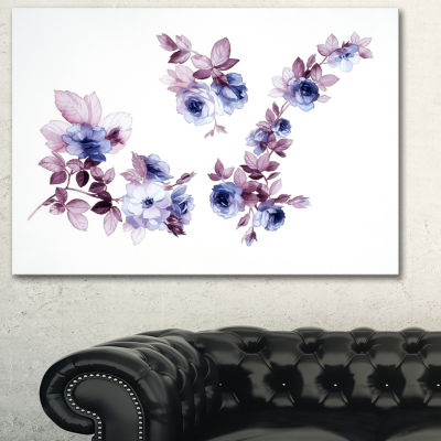 Designart Watercolor Flowers Floral Art Canvas Print - 3 Panels