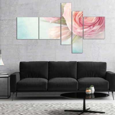 Designart Pink Flowers Against Blue Background Multipanel Floral Canvas Art Print - 5 Panels