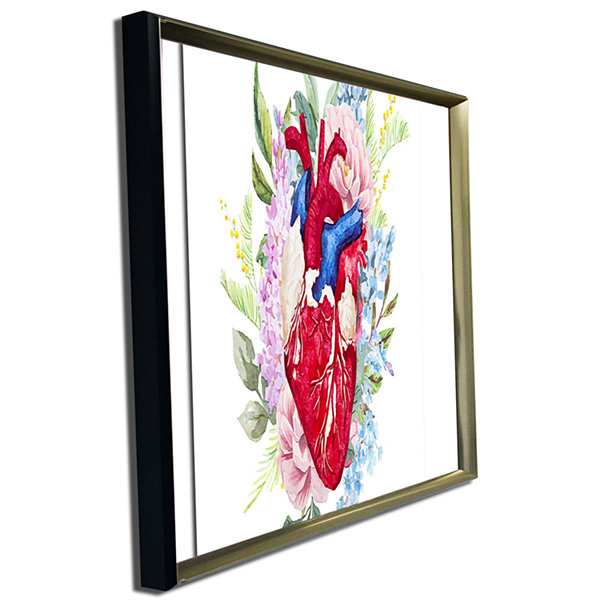 Designart Watercolor Heart With Flowers AbstractCanvas Art Print