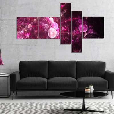 Designart Pink On Black World Bubbles MultipanelFloral Canvas Art Print - 4 Panels