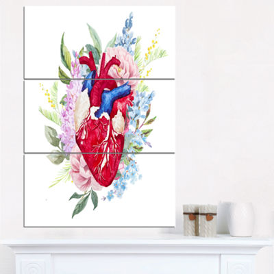 Designart Watercolor Heart With Flowers AbstractCanvas Art Print - 3 Panels