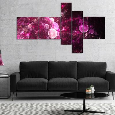 Designart Pink On Black World Bubbles MultipanelFloral Canvas Art Print - 5 Panels