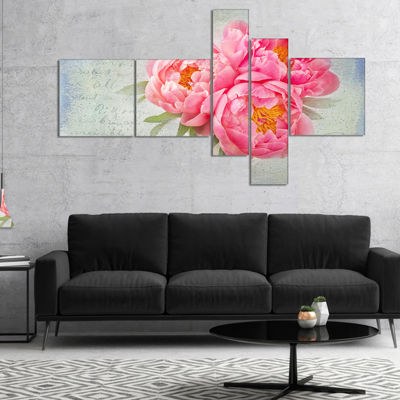 Designart Pink Peony Flowers In White Vase Multipanel Floral Canvas Art Print - 5 Panels