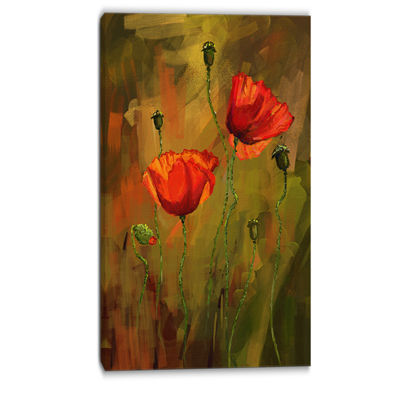 Designart Watercolor Poppy Flowers Floral Art Canvas Print