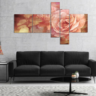 Designart Pink Roses In Vintage Style MultipanelFloral Art Canvas Print - 5 Panels