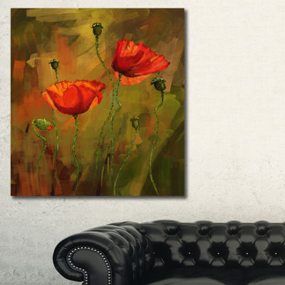 Designart Watercolor Poppy Flowers Floral Art Canvas Print - 3 Panels