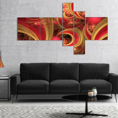 Designart Pink Symmetrical Fractal Pattern Multipanel Floral Canvas Art Print - 4 Panels