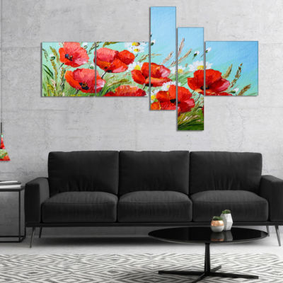 Designart Poppies In Field Against Blue Sky Multipanel Floral Canvas Art Print - 4 Panels