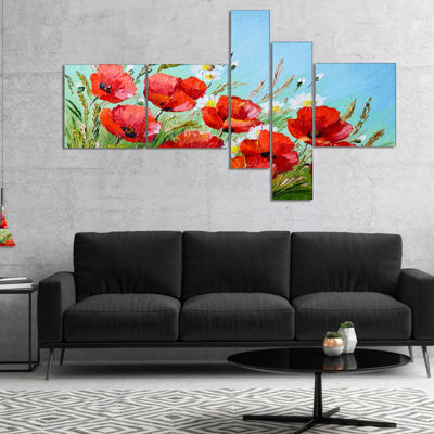 Designart Poppies In Field Against Blue Sky Multipanel Floral Canvas Art Print - 5 Panels