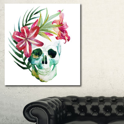 Designart Watercolor Skull With Flowers Floral ArtCanvas Print - 3 Panels