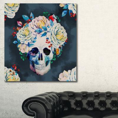 Designart Watercolor Vector Skull Floral Art Canvas Print