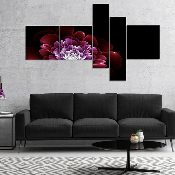 Designart Purple Abstract Fractal Flower Multipanel Floral Art Canvas Print - 4 Panels
