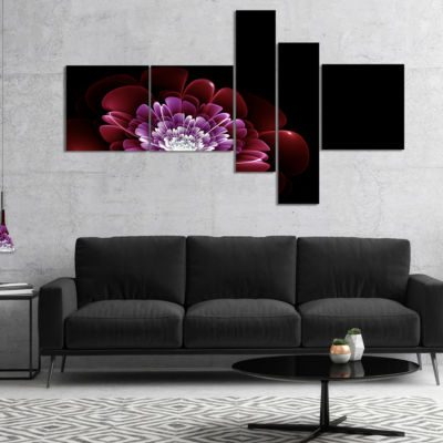 Designart Purple Abstract Fractal Flower Multipanel Floral Art Canvas Print - 5 Panels