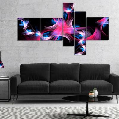 Designart Purple Blue Fractal Flowers MultipanelFloral Canvas Art Print - 4 Panels